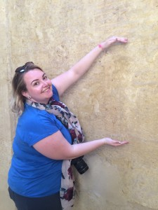 Brandi points out the location of the Twelfth Dynasty princess Neferuptah (c. 1842-1794 BC) at the Temple of Medinet Madi in the Fayum, whom she has been researching for her doctoral thesis.